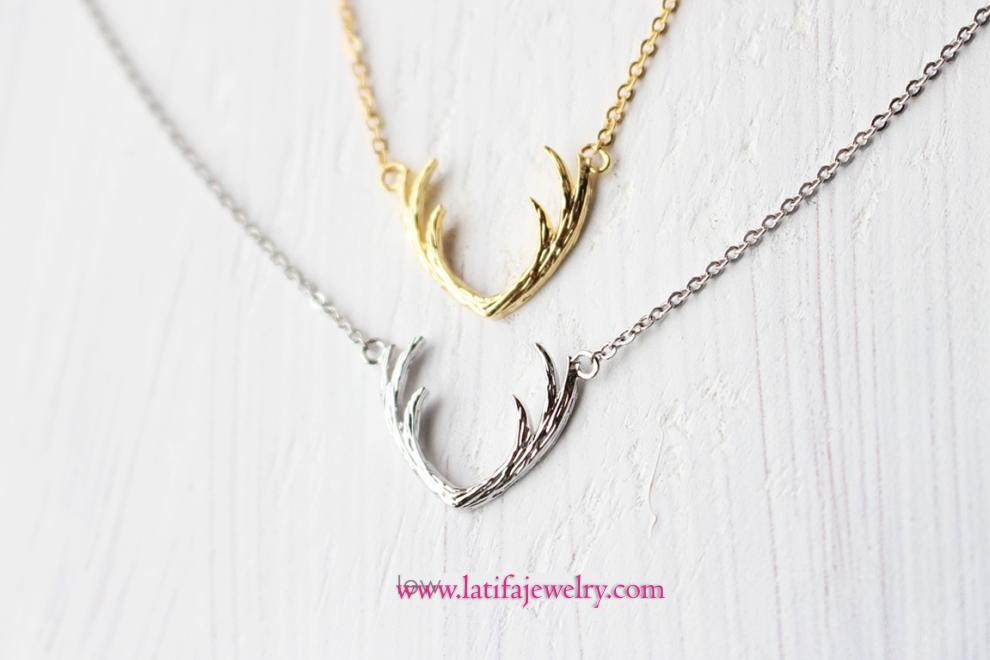 liontin kalung unik, lintin kalung simple, liontin tanduk rusa, emas, perak, palladium