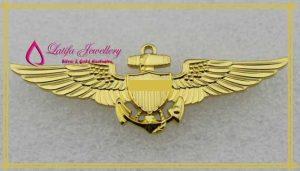 pembuatan pin emas logo angkasa pura burung pesawat perak logo perusahaan cincin