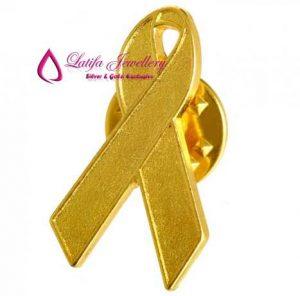 pin pita aids emas asli logo perusahaan perak pembuatan bikin